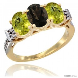 10K Yellow Gold Natural Smoky Topaz & Lemon Quartz Sides Ring 3-Stone Oval 7x5 mm Diamond Accent