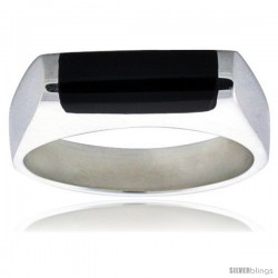 Sterling Silver Thin Black Obsidian Ring