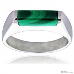 Sterling Silver Thin Malachite Ring