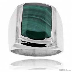 Sterling Silver Large Rectangular Malachite Men's Ring 3/4 in. 19 mm wide
