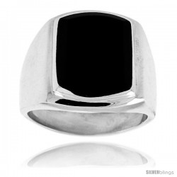 Sterling Silver Large Rectangular Black Obsidian Men's Ring 3/4 in. 18 mm