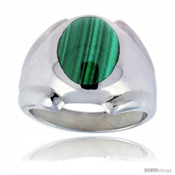 Sterling Silver Oval Malachite Men's Ring 3/4 in. 18 mm
