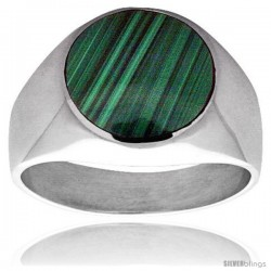 Sterling Silver Round Malachite Men's Ring 5/8 in. 16 mm wide