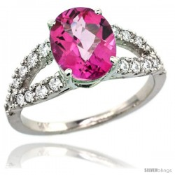 14k White Gold Natural Pink Topaz Ring 10x8 mm Oval Shape Diamond Accent, 3/8inch wide