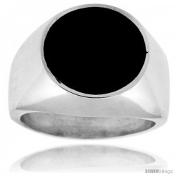 Sterling Silver Round Black Obsidian Men's Ring 5/8 in. 16 mm wide