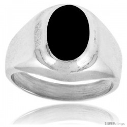 Sterling Silver Oval Black Obsidian Men's Ring 5/8 in. 16 mm wide