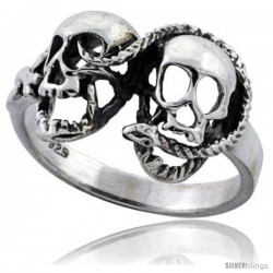 Sterling Silver Snake with 2 Skulls Gothic Biker Ring 7/16 in wide