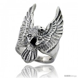 Sterling Silver Large Eagle Gothic Biker Ring 1 1/4 in wide