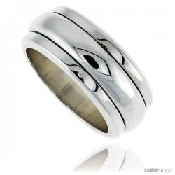 Sterling Silver Men's Spinner Ring Narrow Domed Center Handmade 3/8 in wide