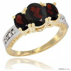 14k Yellow Gold Ladies Oval Natural Garnet 3-Stone Ring Diamond Accent