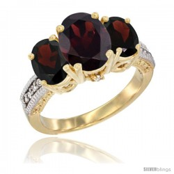 14K Yellow Gold Ladies 3-Stone Oval Natural Garnet Ring Diamond Accent