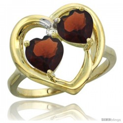 14k Yellow Gold 2-Stone Heart Ring 6mm Natural Garnet Stones Diamond Accent