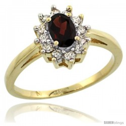 14k Yellow Gold Garnet Diamond Halo Ring Oval Shape 1.2 Carat 6X4 mm, 1/2 in wide