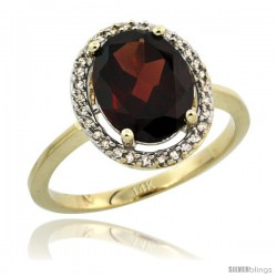 14k Yellow Gold Diamond Halo Garnet Ring 2.4 carat Oval shape 10X8 mm, 1/2 in (12.5mm) wide