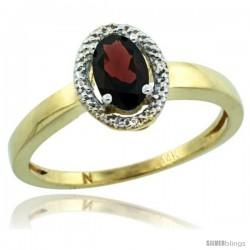 14k Yellow Gold Diamond Halo Garnet Ring 0.75 Carat Oval Shape 6X4 mm, 3/8 in (9mm) wide