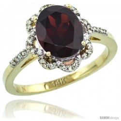 14k Yellow Gold Diamond Halo Garnet Ring 1.65 Carat Oval Shape 9X7 mm, 7/16 in (11mm) wide