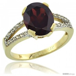 14k Yellow Gold and Diamond Halo Garnet Ring 2.4 carat Oval shape 10X8 mm, 3/8 in (10mm) wide