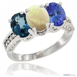 14K White Gold Natural London Blue Topaz, Opal & Tanzanite Ring 3-Stone 7x5 mm Oval Diamond Accent