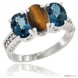 14K White Gold Natural Tiger Eye & London Blue Topaz Sides Ring 3-Stone 7x5 mm Oval Diamond Accent