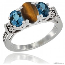 14K White Gold Natural Tiger Eye & London Blue Ring 3-Stone Oval with Diamond Accent