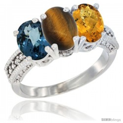 14K White Gold Natural London Blue Topaz, Tiger Eye & Whisky Quartz Ring 3-Stone 7x5 mm Oval Diamond Accent