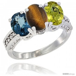14K White Gold Natural London Blue Topaz, Tiger Eye & Lemon Quartz Ring 3-Stone 7x5 mm Oval Diamond Accent