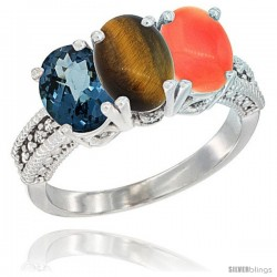14K White Gold Natural London Blue Topaz, Tiger Eye & Coral Ring 3-Stone 7x5 mm Oval Diamond Accent