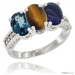 14K White Gold Natural London Blue Topaz, Tiger Eye & Lapis Ring 3-Stone 7x5 mm Oval Diamond Accent