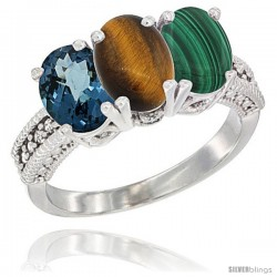 14K White Gold Natural London Blue Topaz, Tiger Eye & Malachite Ring 3-Stone 7x5 mm Oval Diamond Accent