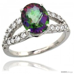 14k White Gold Natural Mystic Topaz Ring 10x8 mm Oval Shape Diamond Accent, 3/8inch wide