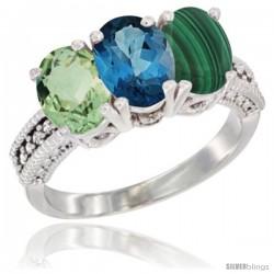 10K White Gold Natural Green Amethyst, London Blue Topaz & Malachite Ring 3-Stone Oval 7x5 mm Diamond Accent