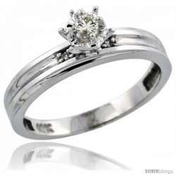 10k White Gold Diamond Engagement Ring, 1/8 in wide -Style Ljw104er