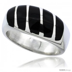 Sterling Silver Striped Black Obsidian Men's Ring 3/8 in. 9 mm wide