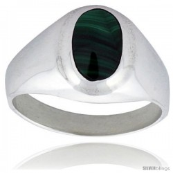 Sterling Silver Oval Malachite Men's Ring 5/8 in. 16 mm wide