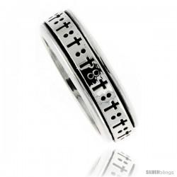 Sterling Silver Men's Spinner Ring Cross Design Handmade 5/16 wide