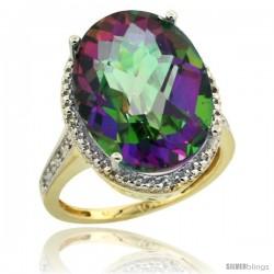 10k Yellow Gold Diamond Mystic Topaz Ring 13.56 Carat Oval Shape 18x13 mm, 3/4 in (20mm) wide