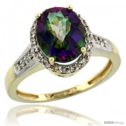 10k Yellow Gold Diamond Mystic Topaz Ring 2.4 ct Oval Stone 10x8 mm, 1/2 in wide