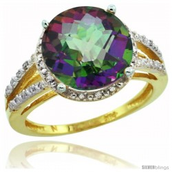 10k Yellow Gold Diamond Mystic Topaz Ring 5.25 ct Round Shape 11 mm, 1/2 in wide