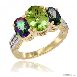 10K Yellow Gold Ladies 3-Stone Oval Natural Peridot Ring with Mystic Topaz Sides Diamond Accent