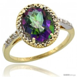 10k Yellow Gold Diamond Mystic Topaz Ring 2.4 ct Oval Stone 10x8 mm, 1/2 in wide -Style Cy908111