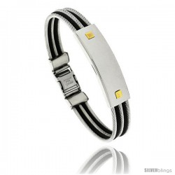 Gent's Stainless Steel Cable & Rubber ID Bangle Bracelet 1/2 in wide, 8 1/2 in long