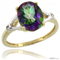 10k Yellow Gold Diamond Mystic Topaz Ring 2.4 ct Oval Stone 10x8 mm, 3/8 in wide