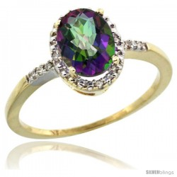 10k Yellow Gold Diamond Mystic Topaz Ring 1.17 ct Oval Stone 8x6 mm, 3/8 in wide