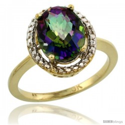 10k Yellow Gold Diamond Mystic Topaz Ring 2.4 ct Oval Stone 10x8 mm, 1/2 in wide -Style Cy908114