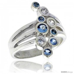 Highest Quality Sterling Silver 3/4 in (21 mm) wide Right Hand Ring, Bezel Set Brilliant Cut Clear & Blue Topaz-colored CZ