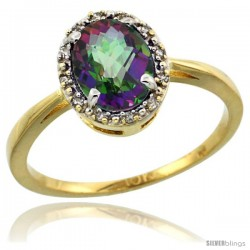 10k Yellow Gold Diamond Halo Mystic Topaz Ring 1.2 ct Oval Stone 8x6 mm, 1/2 in wide