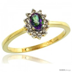10k Yellow Gold Diamond Halo Mystic Topaz Ring 0.25 ct Oval Stone 5x3 mm, 5/16 in wide