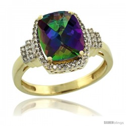 10k Yellow Gold Diamond Halo Mystic Topaz Ring 2.4 ct Cushion Cut 9x7 mm, 1/2 in wide