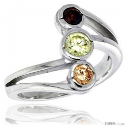 Highest Quality Sterling Silver 5/8 in (16 mm) wide Right Hand Ring, Bezel Set Brilliant Cut Citrine, Peridot