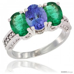 14K White Gold Natural Tanzanite & Emerald Sides Ring 3-Stone 7x5 mm Oval Diamond Accent